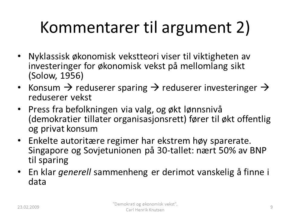 Kommentarer til argument 2)