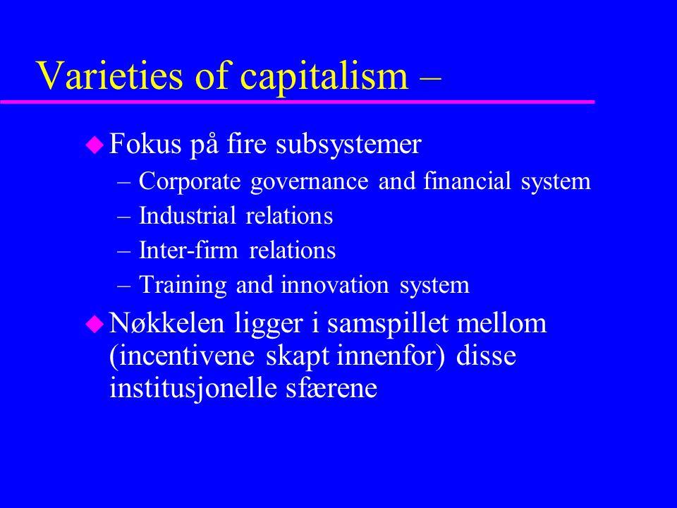 Varieties of capitalism –