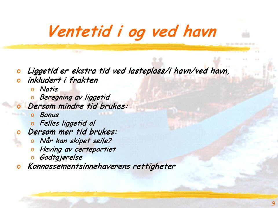 Ventetid i og ved havn Liggetid er ekstra tid ved lasteplass/i havn/ved havn, inkludert i frakten.