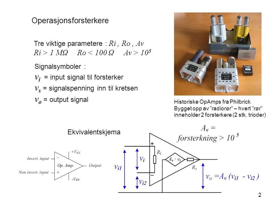 vi = input signal til forsterker vs = signalspenning inn til kretsen