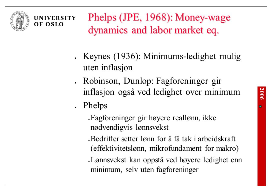 Hvis u < u*, blir inflasjonen høyere enn forventet.