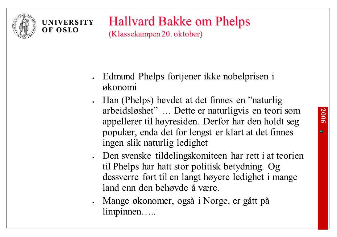 Om arbeidsledighet og inflasjon – med utgangspunkt i nobelprisvinner Edmund Phelps