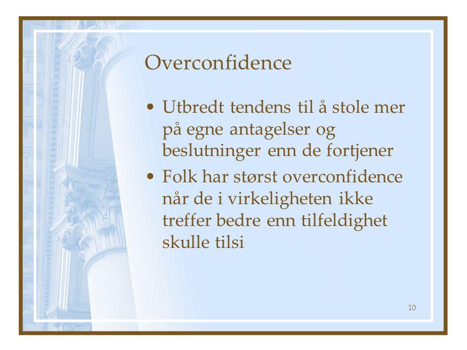 Overconfidence Utbredt tendens til å stole mer på egne antagelser og beslutninger enn de fortjener.