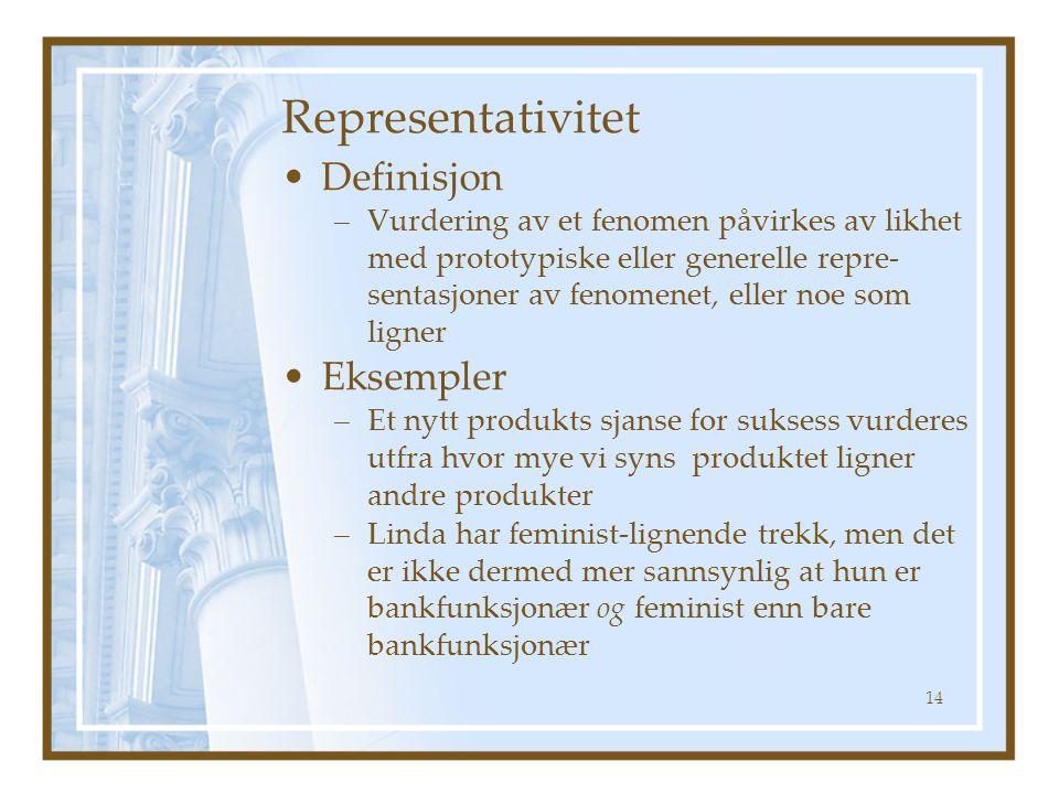 Representativitet Definisjon Eksempler