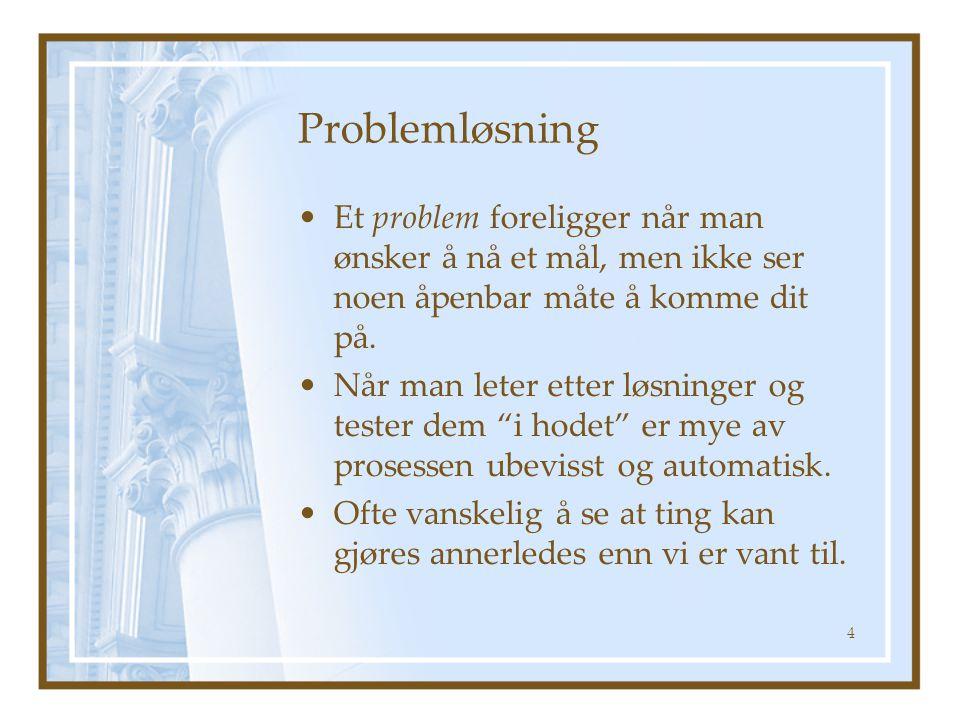 Problemløsning Et problem foreligger når man ønsker å nå et mål, men ikke ser noen åpenbar måte å komme dit på.