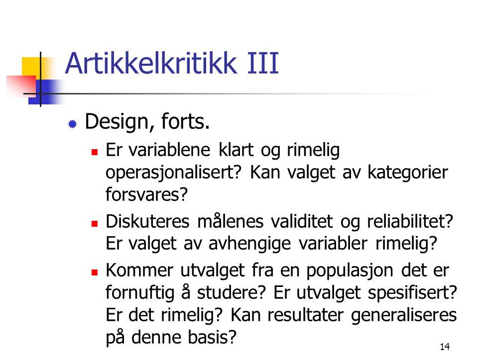 Artikkelkritikk III Design, forts.