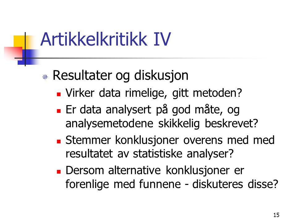Artikkelkritikk IV Resultater og diskusjon