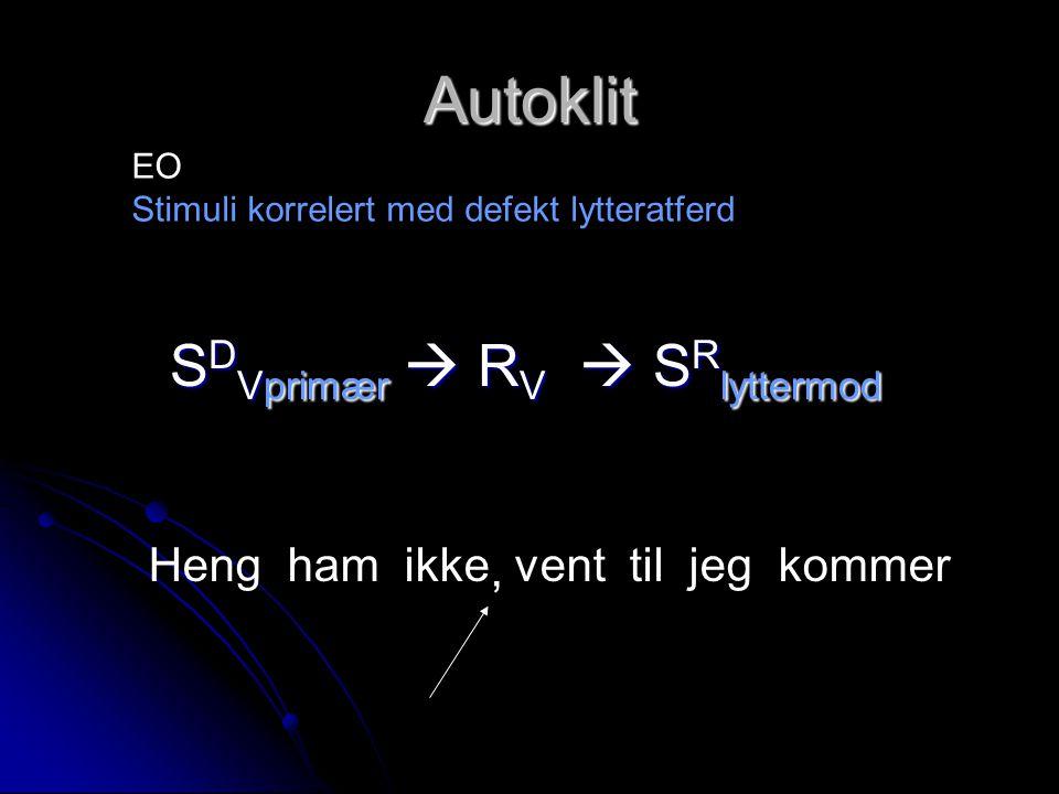 Autoklit SDVprimær  RV  SRlyttermod