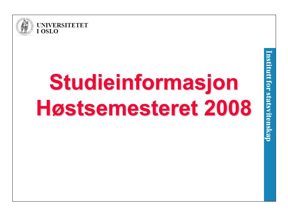 Studieinformasjon Høstsemesteret 2008
