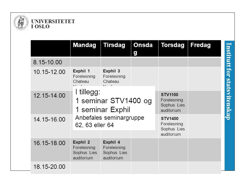 I tillegg: 1 seminar STV1400 og 1 seminar Exphil