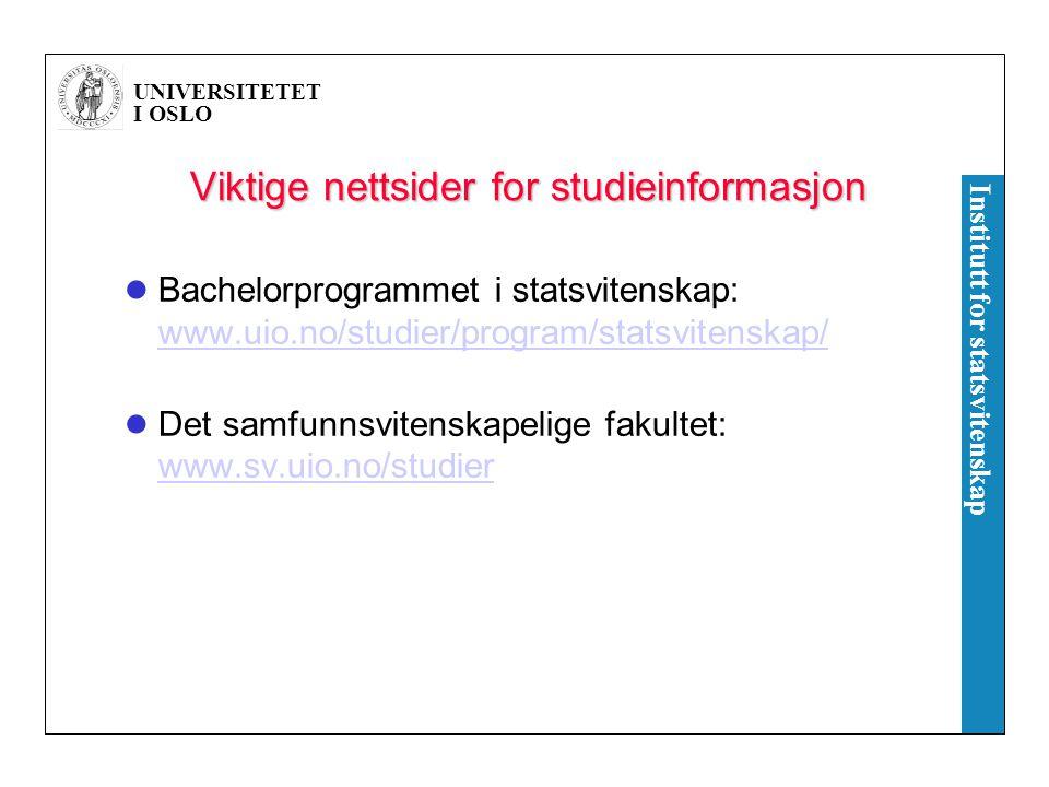 Viktige nettsider for studieinformasjon