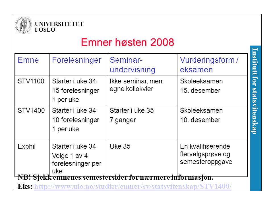 Emner høsten 2008 Emne Forelesninger Seminar-undervisning