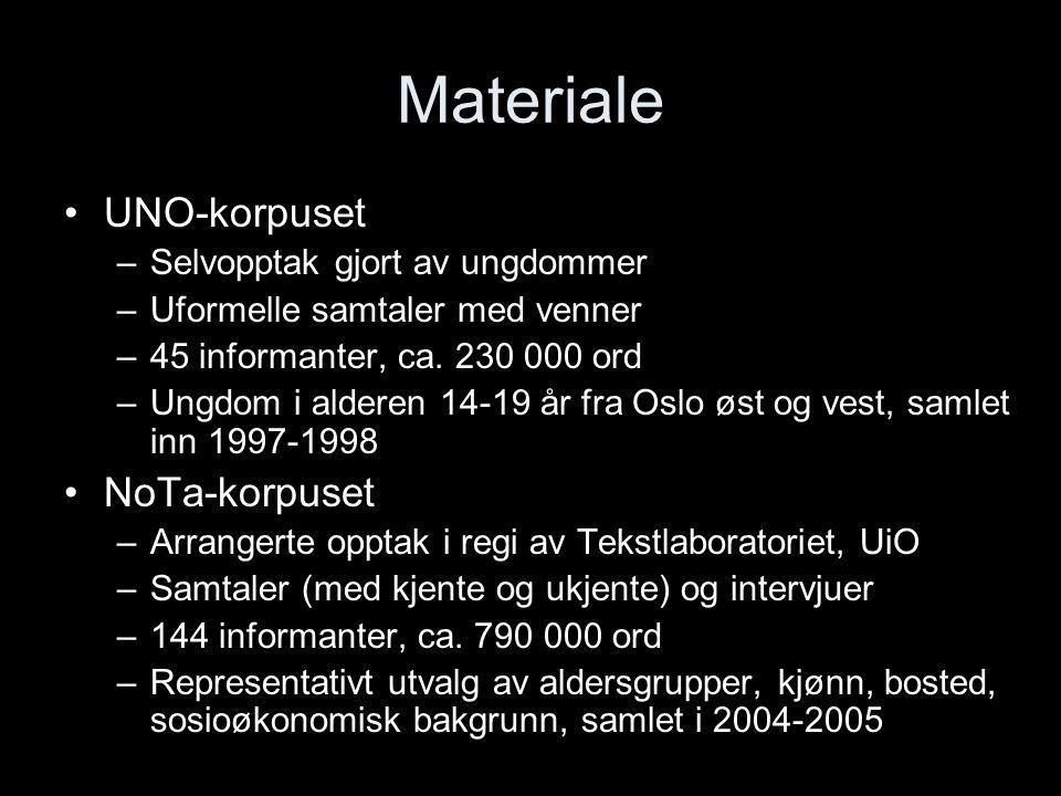 Materiale UNO-korpuset NoTa-korpuset Selvopptak gjort av ungdommer