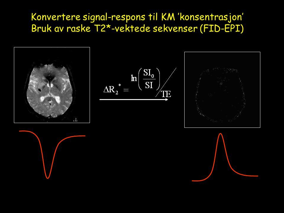 Konvertere signal-respons til KM 'konsentrasjon' Bruk av raske T2