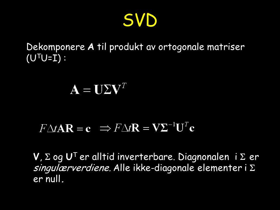 SVD Dekomponere A til produkt av ortogonale matriser (UTU=I) :