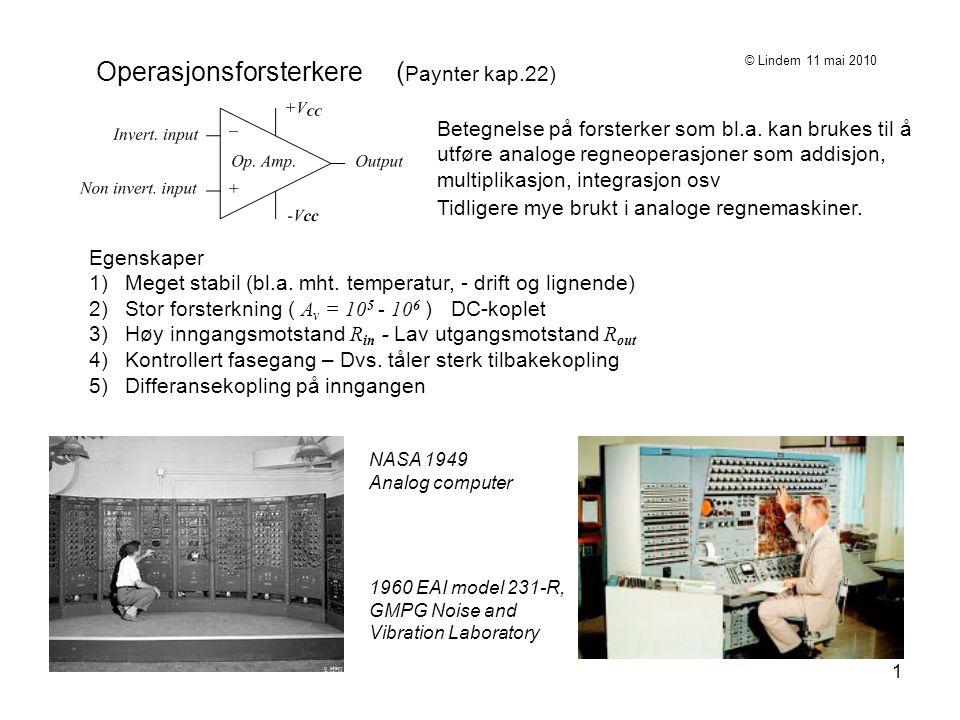 Operasjonsforsterkere (Paynter kap.22)