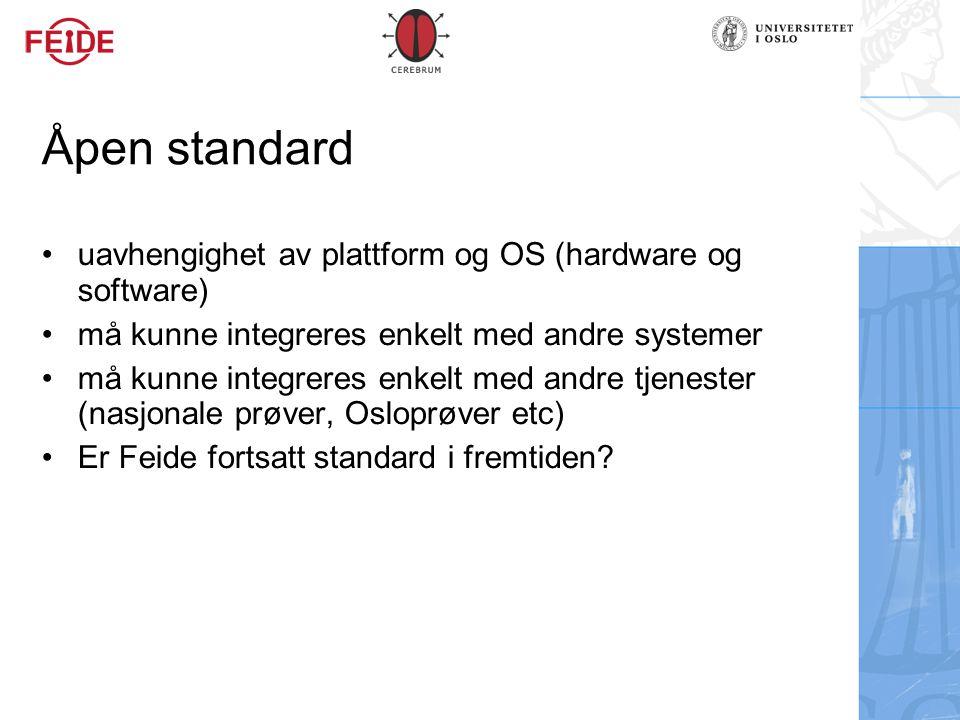 Åpen standard uavhengighet av plattform og OS (hardware og software)