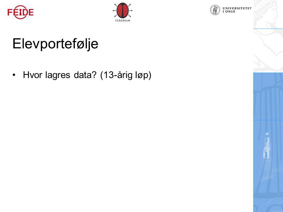 Elevportefølje Hvor lagres data (13-årig løp)