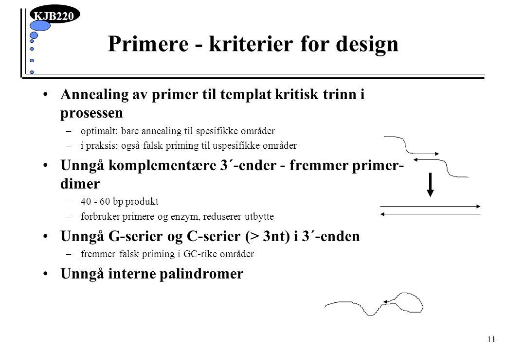 Primere - kriterier for design