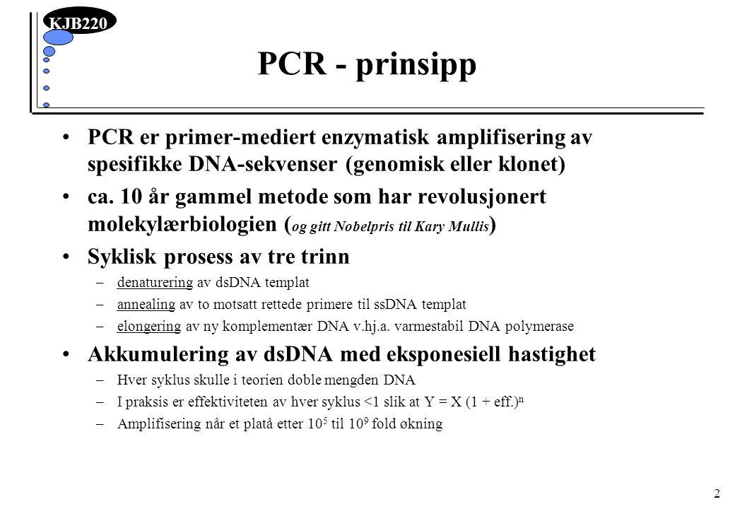 PCR - prinsipp PCR er primer-mediert enzymatisk amplifisering av spesifikke DNA-sekvenser (genomisk eller klonet)