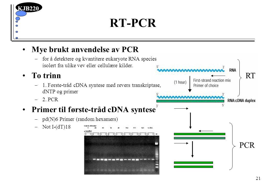 RT-PCR Mye brukt anvendelse av PCR To trinn RT