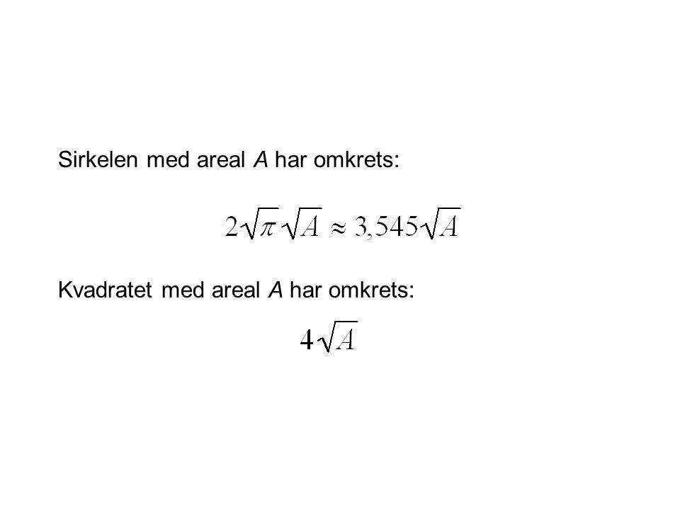 Sirkelen med areal A har omkrets: