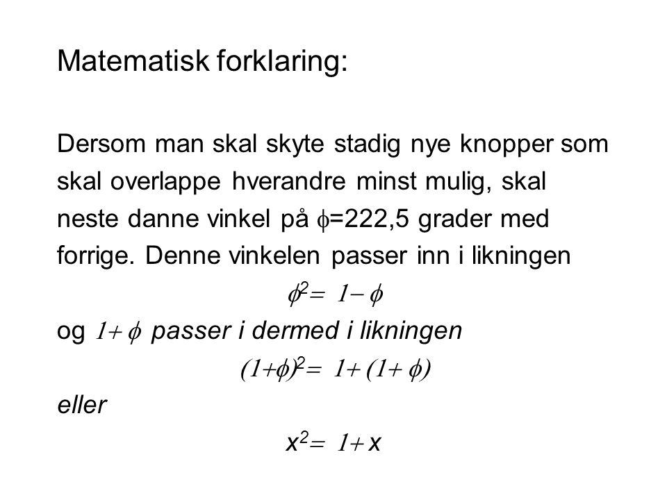 Matematisk forklaring: