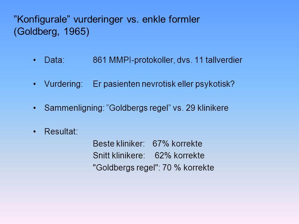 Konfigurale vurderinger vs. enkle formler (Goldberg, 1965)