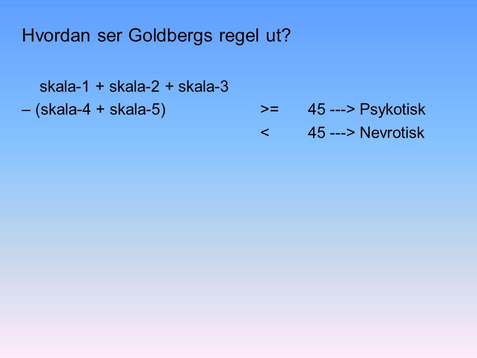 Hvordan ser Goldbergs regel ut