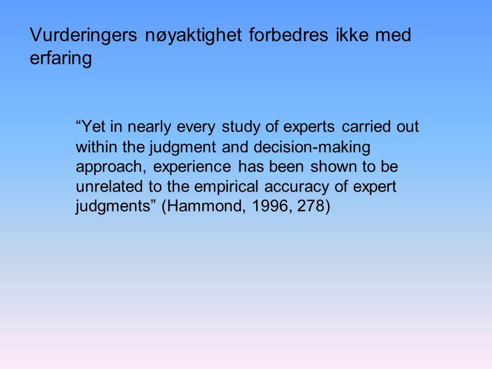 Vurderingers nøyaktighet forbedres ikke med erfaring
