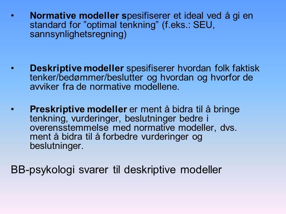 BB-psykologi svarer til deskriptive modeller