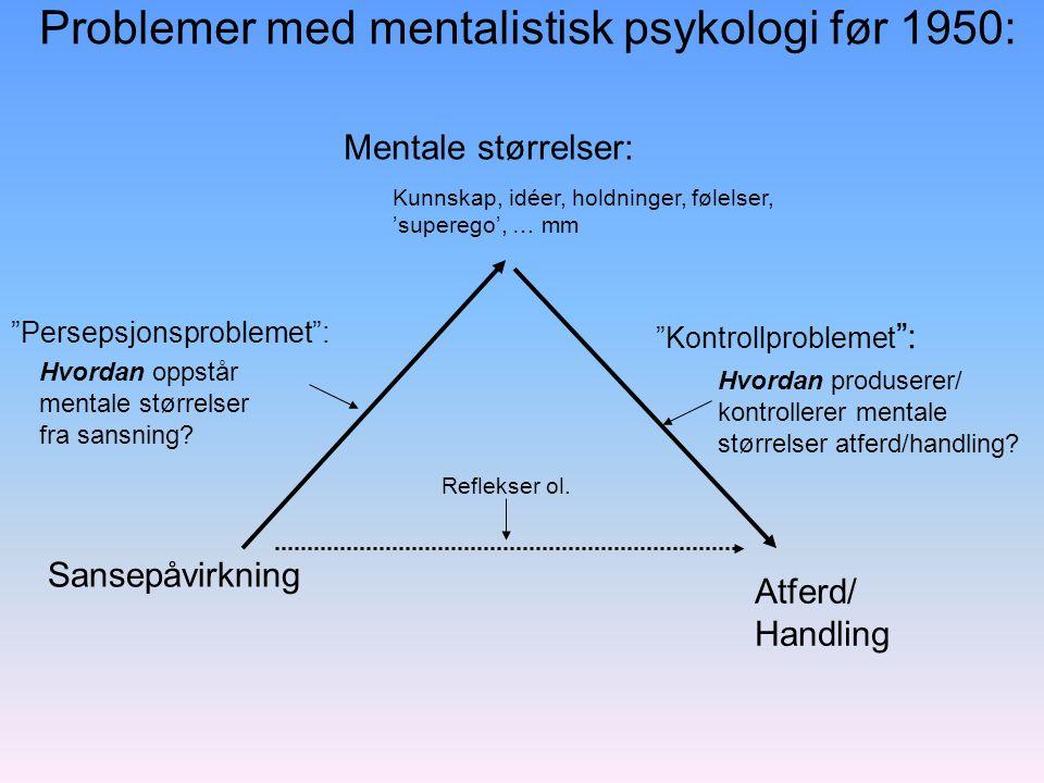 Problemer med mentalistisk psykologi før 1950: