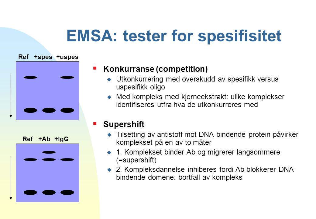 EMSA: tester for spesifisitet