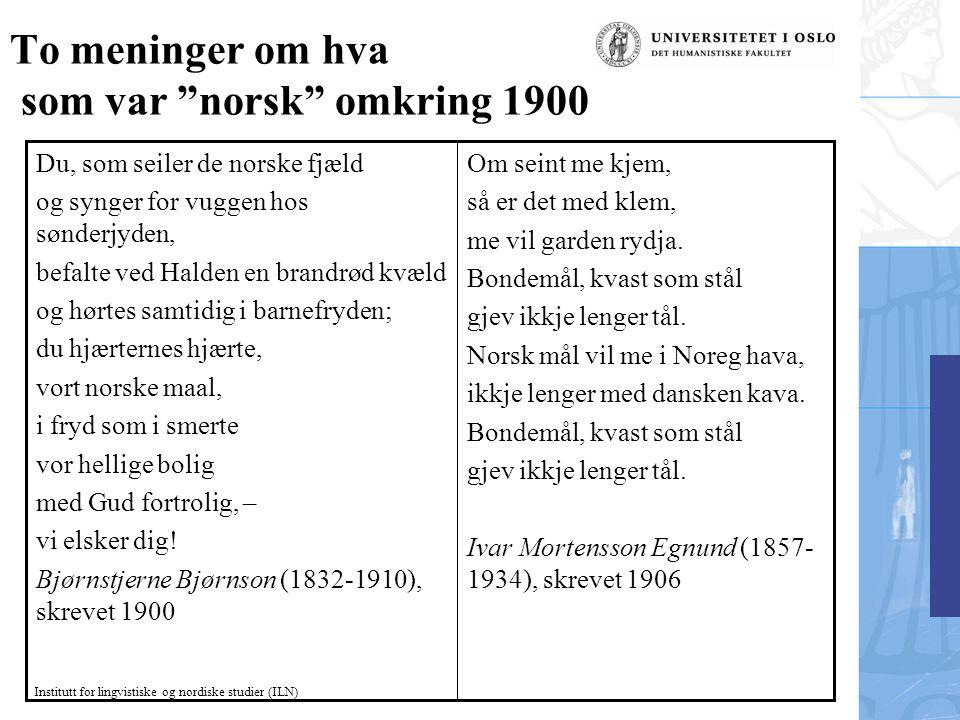 To meninger om hva som var norsk omkring 1900