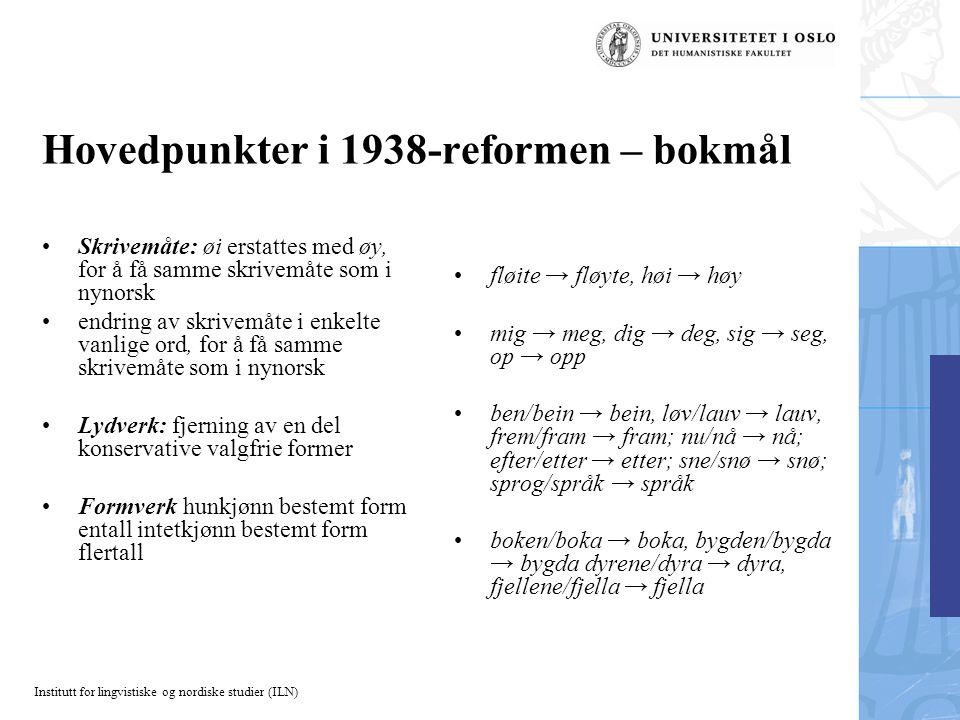 Hovedpunkter i 1938-reformen – bokmål
