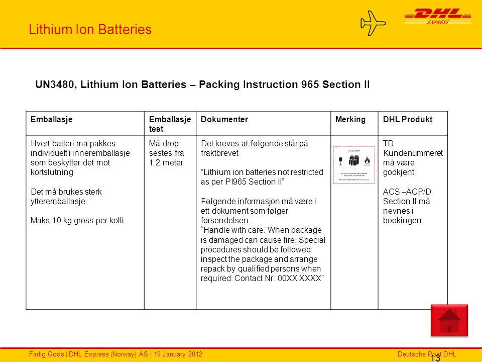Lithium Ion Batteries UN3480, Lithium Ion Batteries – Packing Instruction 965 Section II. Emballasje.