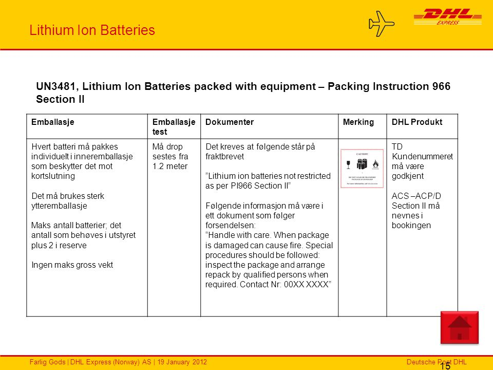 Lithium Ion Batteries UN3481, Lithium Ion Batteries packed with equipment – Packing Instruction 966 Section II.