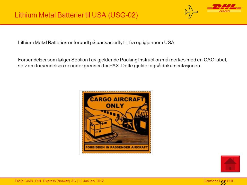Lithium Metal Batterier til USA (USG-02)