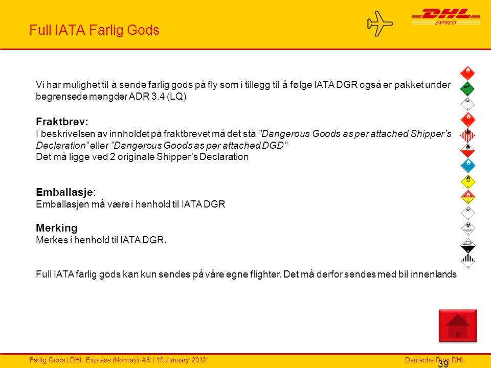 Full IATA Farlig Gods Fraktbrev: Emballasje: Merking