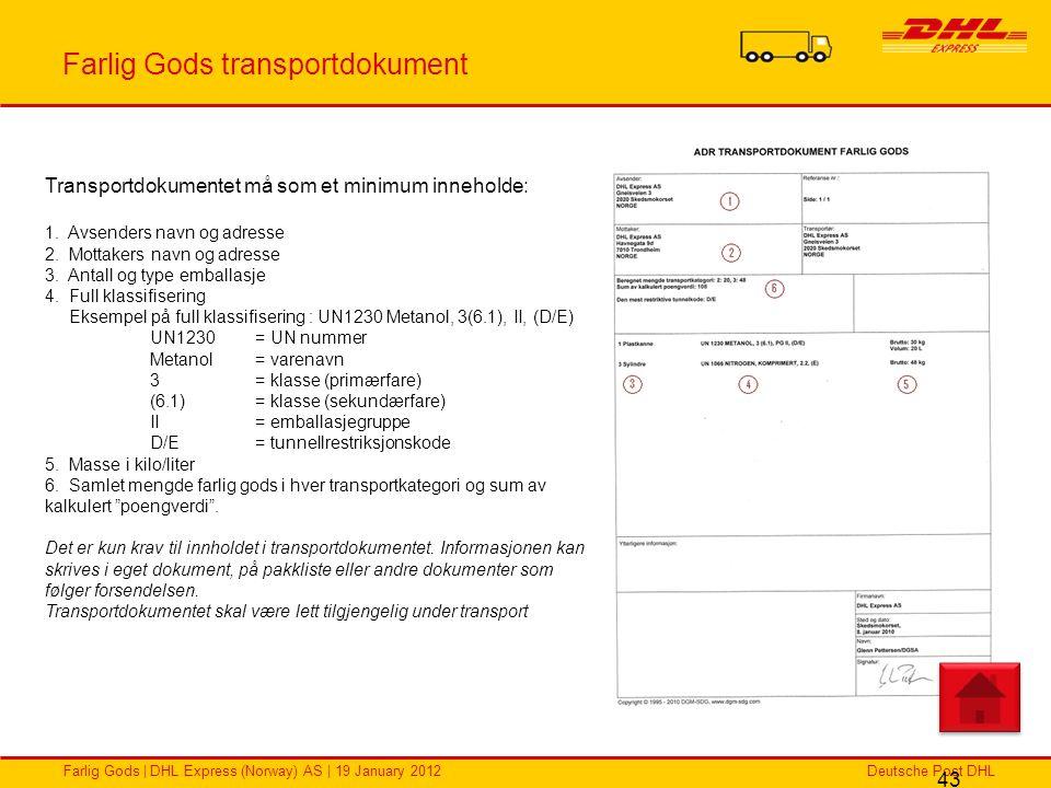 Farlig Gods transportdokument