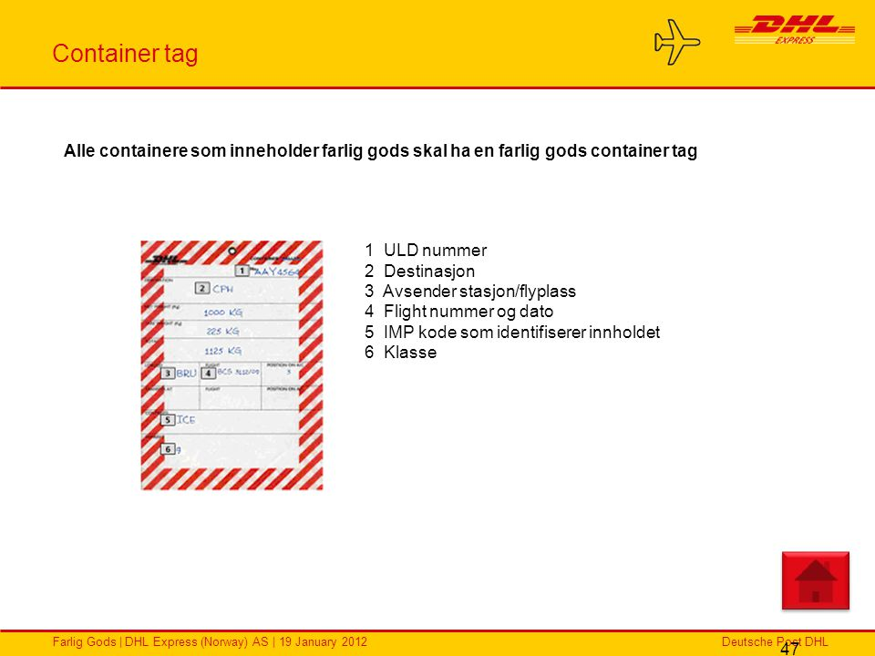 Container tag Alle containere som inneholder farlig gods skal ha en farlig gods container tag. 1 ULD nummer.