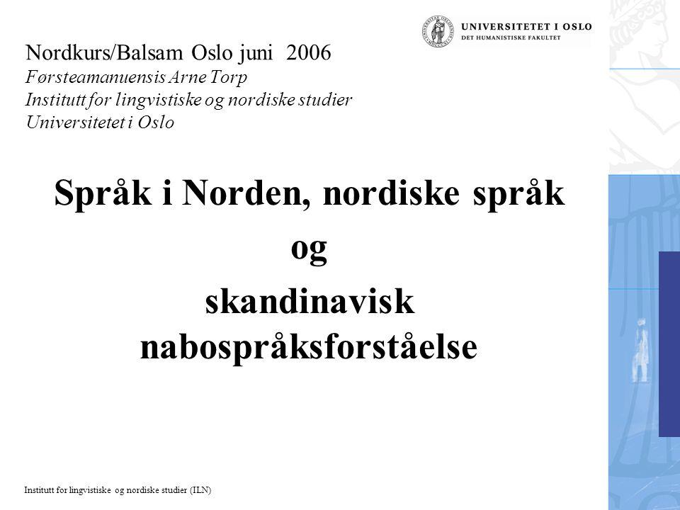 Språk i Norden, nordiske språk skandinavisk nabospråksforståelse