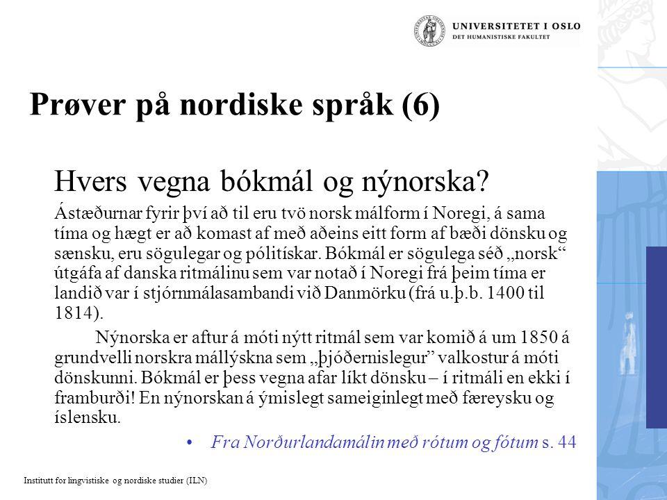 Prøver på nordiske språk (6)