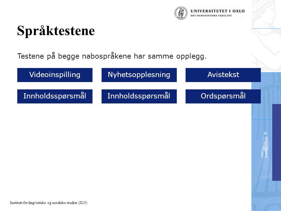 Språktestene Testene på begge nabospråkene har samme opplegg.