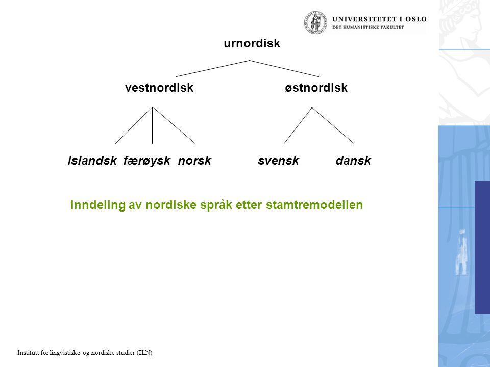 urnordisk vestnordisk østnordisk. islandsk færøysk norsk svensk dansk.