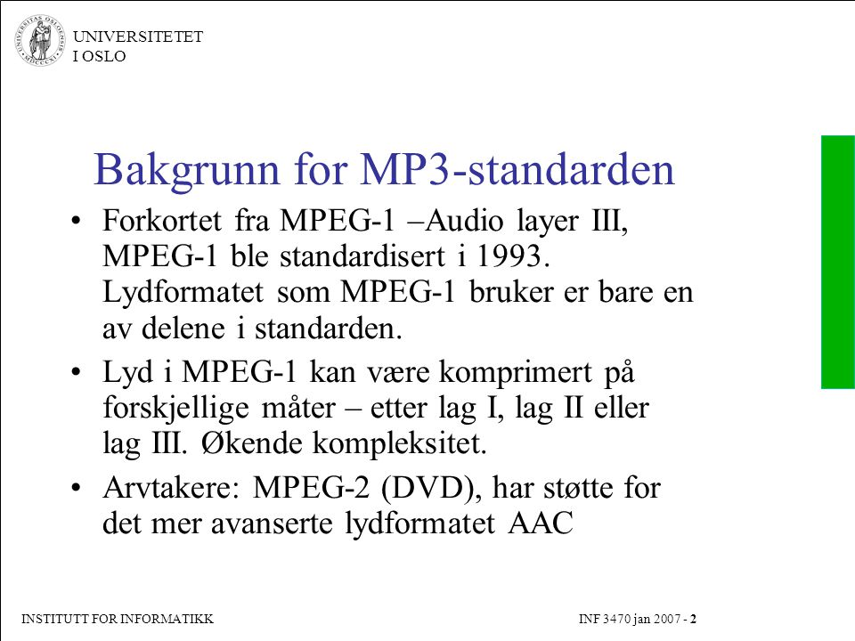 Bakgrunn for MP3-standarden