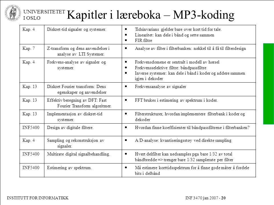 Kapitler i læreboka – MP3-koding