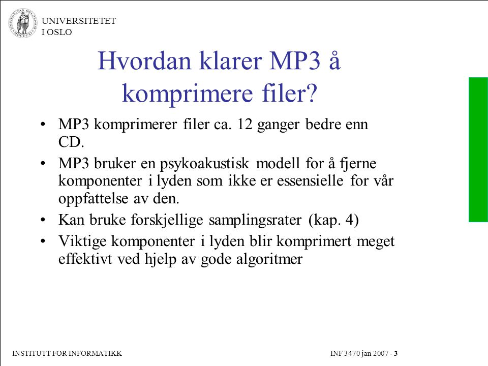 Hvordan klarer MP3 å komprimere filer
