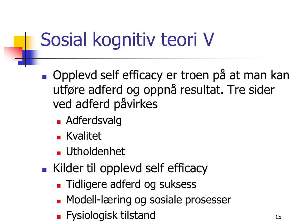 Sosial kognitiv teori V