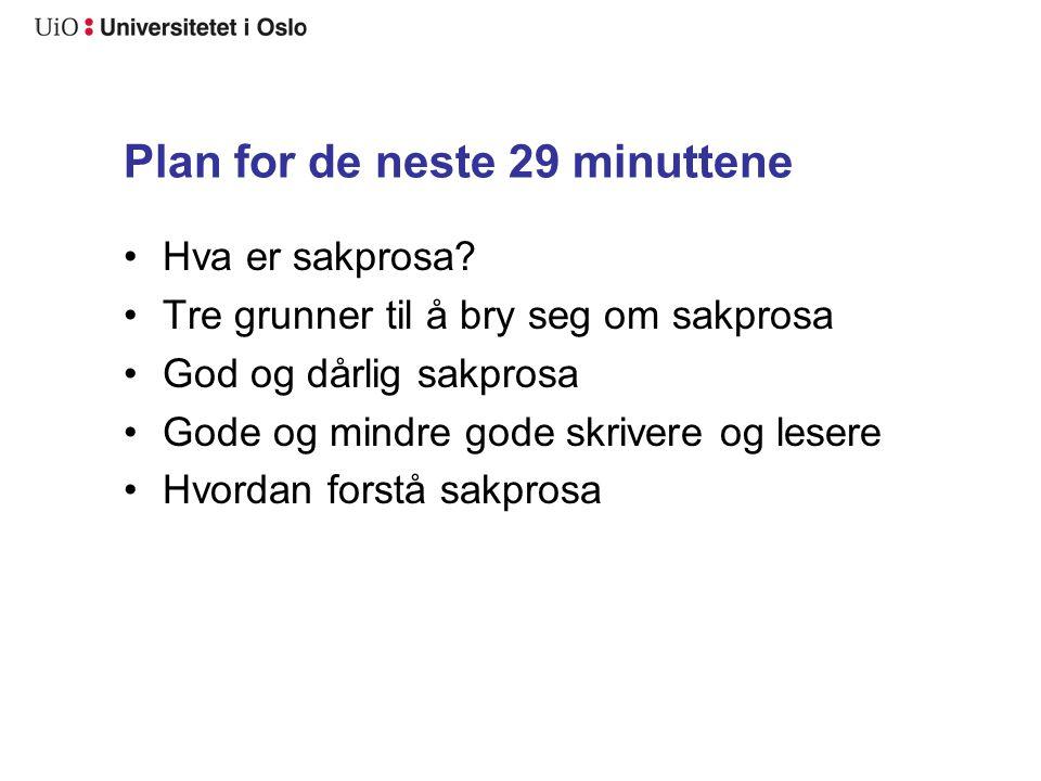 Plan for de neste 29 minuttene